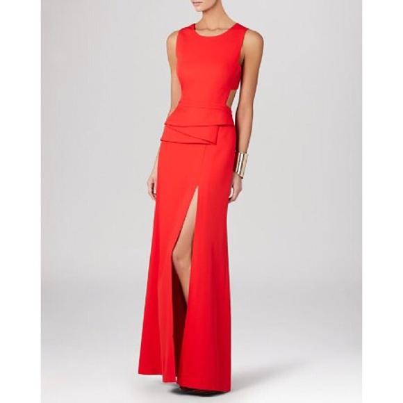 BCBGMaxAzria Dresses | Bcbg Kiara Peplum Gown Poppy Red Color | Poshmark